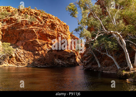 Ellery Creek Big Hole, West MacDonnell ranges and National Park, near Alice Springs, Northern Territories, Australia - Stock Photo