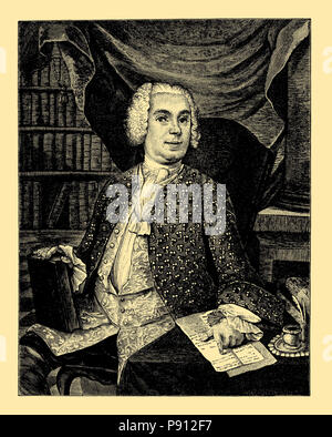 Johann Christoph Gottsched (born February 2, 1700, Juditten, later district of Königsberg, December 12, 1766, Leipzig), German scholar and writer, - Stock Photo