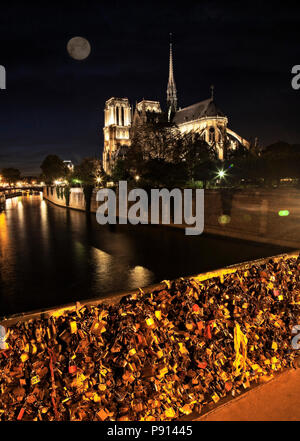 Notre Dame and the many locks on the Pont Archeveche.  Paris, France. - Stock Photo