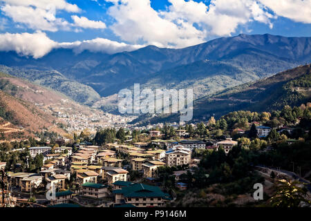 The Capitol city of Thimphu in the foothills of the Himalaya, Bhutan. - Stock Photo
