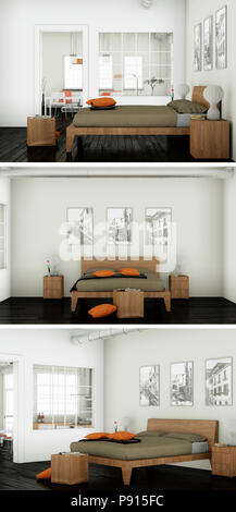 Three views of modern interior loft design Stock Photo