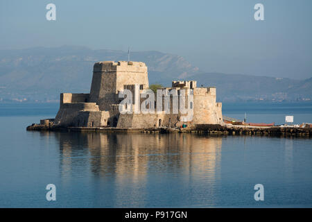 EUROPE, GREECE, Peloponnese,  Nafplio, Bourtzi Castle (15th century AD), a Venetian castle in the middle of the harbour of Nafplio - Stock Photo