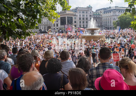 Trafalgar Square, London, UK. Friday 13th July 2018. Protest march against Donald Trump visiting the UK. Credit: Paul Carstairs/Alamy Live News. - Stock Photo