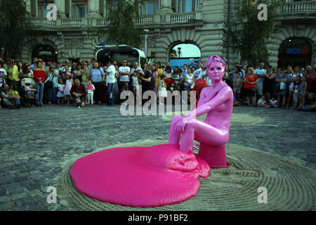 Bucharest, Romania. 13th July, 2018. An artist performs in the opening of the 10th Street Theater Festival in Bucharest, capital of Romania, July 13, 2018. The festival lasts from July 13 to August 5. Credit: Cristian Cristel/Xinhua/Alamy Live News - Stock Photo