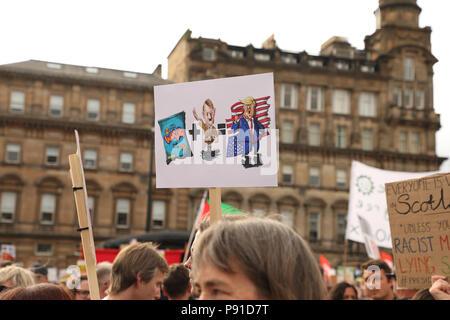 Glasgow, UK, 13 July 2018. Trump Protest Glasgow, George Square, Scotland, UK Credit: Kirsty Nichol MacInnes/Alamy Live News - Stock Photo