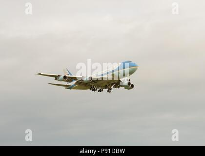 Glasgow, UK, 13th, July, 2018. Glasgow Prestwick Airport, Scotland, UK. United States of America's President Trump arrives in Scotland on Airforce one during a trip to the United Kingdom - Stock Photo