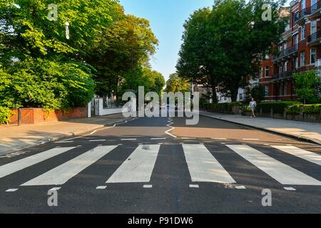 Abbey Road, London, UK.  14th July 2018. UK Weather.  The Zebra Crossing made famous by The Beatles on Abbey Road in London on a warm sunny morning.  Picture Credit: Graham Hunt/Alamy Live News - Stock Photo