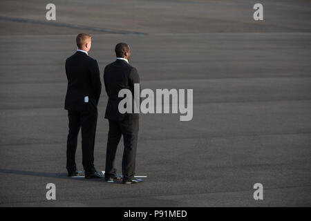 Prestwick, Scotland, on 13 July 2018. President Donald Trump, and wife Melania, arrive on Air Force One at Glasgow Prestwick International Airport at the start of a two day trip to Scotland. Image Credit: Jeremy Sutton-Hibbert/ Alamy News. - Stock Photo