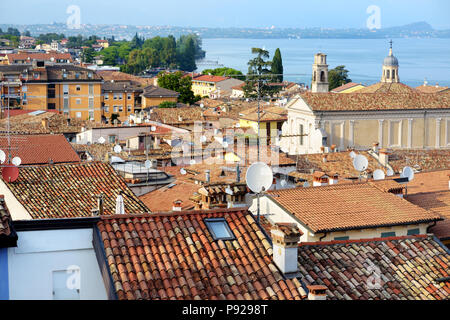Beautiful aerial views of Desenzano del Garda, a town and comune in the province of Brescia, in Lombardy, Italy, on the southwestern shore of Lake Gar - Stock Photo