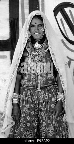 Portrait of a BANJARI WOMAN with a gold NOSE RING in tribal attire at the PUSHKAR CAMEL FAIR - RAJASTHAN, INDIA - Stock Photo