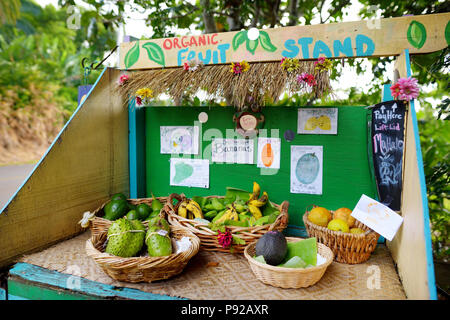 Avocados, lemons, bananas and other fruits for sale at a self service roadside stand on the Big Island of Hawaii, USA - Stock Photo