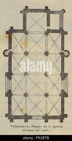 18 1920-06, Boletín de la Sociedad Española de Excursiones, Villamorón, planta de la iglesia, Vicente Lampérez - Stock Photo