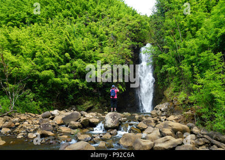 Beautiful view of a waterfall located along famous Road to Hana on Maui island, Hawaii, USA - Stock Photo
