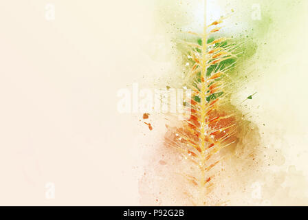 Abstract colorful Grass flower watercolor painting background. - Stock Photo