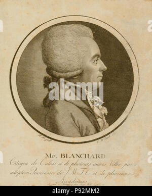 Head-and-shoulders profile portrait of French balloonist, Jean-Pierre Blanchard. 1780s - Stock Photo