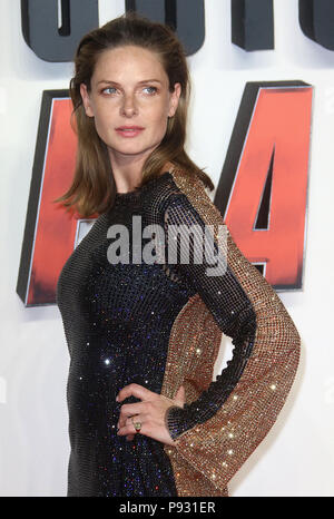 Jul 13, 2018  - Rebecca Ferguson attending 'Mission Impossible - Fallout' UK Premiere at BFI IMAX in London, England, UK - Stock Photo