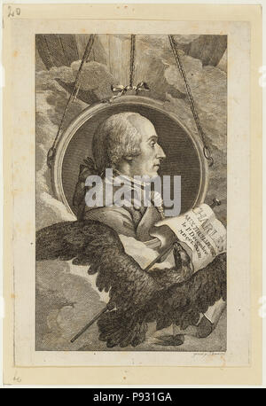 Head-and-shoulders profile portrait of French balloonist J.A.C. Charles, who made the first flight in a hydrogen balloon, Dec. 1, 1783. - Stock Photo