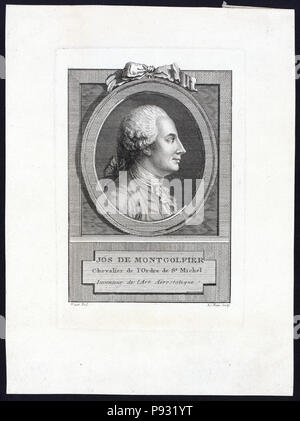 Head-and-shoulders profile portrait of French balloonist, Joseph Montgolfier - Stock Photo