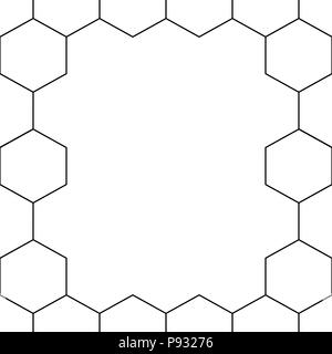 Black Honeycomb Hexagon Border on White Background. Vector Illustration. - Stock Photo