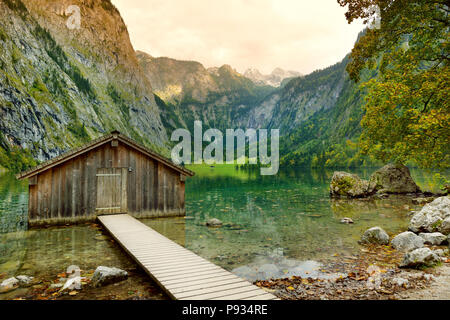 Stunning deep green waters of Obersee, located near Konigssee, known as Germany's deepest and cleanest lake, situated in the extreme southeast Berchte - Stock Photo
