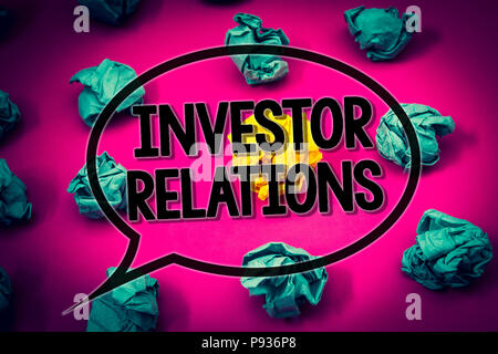 Handwriting text Investor Relations  Concept meaning Finance