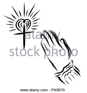 Heart, cross and hands of a praying woman Stock Photo: 212624268 - Alamy
