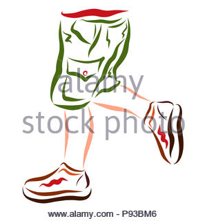Legs of a running or dancing child in shorts and sports shoes - Stock Photo