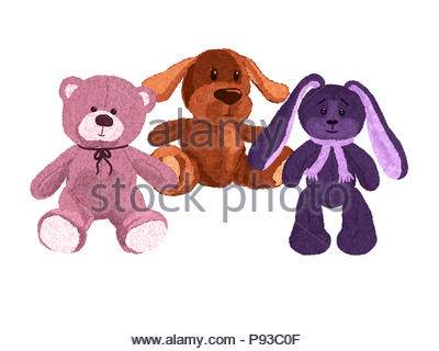 Three cute plush toys, a dog, a bear and a hare - Stock Photo