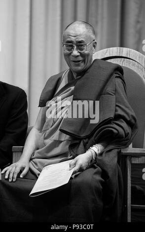 The14th DALAI LAMA of TIBET attends an INTERFAITH PRAYER SERVICE - ST PAUL CATHOLIC CENTER, BLOOMINGTON, INDIANA - Stock Photo