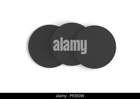 Black coaster. Isolated on white background. Include clipping path. 3d render - Stock Photo