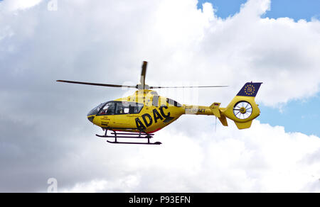Bremen, Germany - July 10th, 2018 - Emergency rescue helicopter in flight Stock Photo