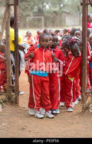 Nairobi, Kenya - Students in sports tracksuits at St. John's Community Center Pumwani. - Stock Photo
