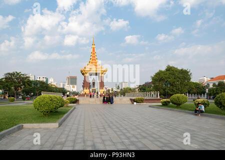 Memorial park with Statue of His Majesty Preah Bat Samdech Preah Norodom SIHANOUK, Phnom Penh, Cambodia - Stock Photo