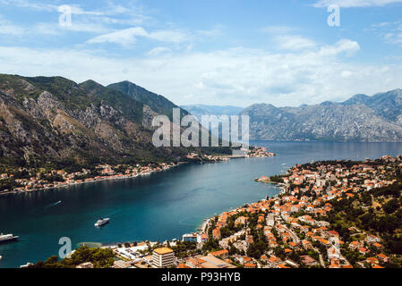 View of kotor old town from Lovcen mountain in Kotor, Montenegro. Kotor is part of the unesco world. - Stock Photo