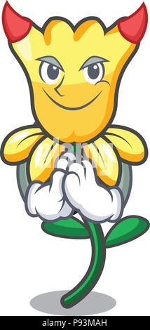 Devil daffodil flower mascot cartoon - Stock Photo