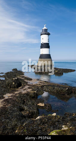 The Grade II listed Trwyn Du Lighthouse on the Anglesey coast between Black Point near Penmon and Ynys Seriol (Puffin Island), Wales, Europe - Stock Photo