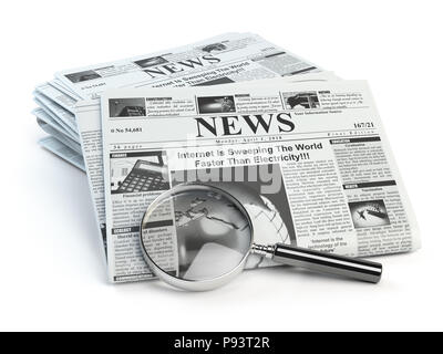 News. Loupe with  periodic ho news newspapers isolated on white. 3d illustration - Stock Photo