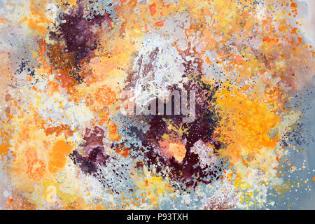 Pink, yellow and orange abstract art painting. - Stock Photo