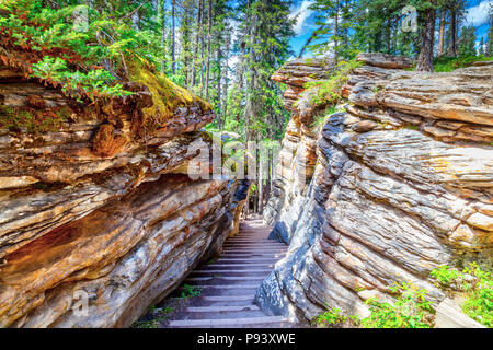 Long winding staircase cuts through the canyon at Athabasca Falls on the Icefields Parkway in Jasper National Park in Alberta, Canada.