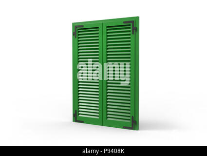 Window with green venetian shutters, closeup perspective view, 3D rendering. - Stock Photo