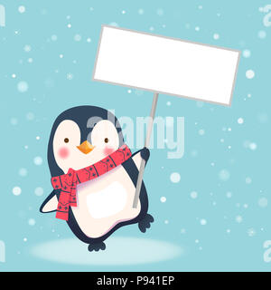 Cute penguin with scarf holding blank sign. Penguin cartoon illustration. - Stock Photo