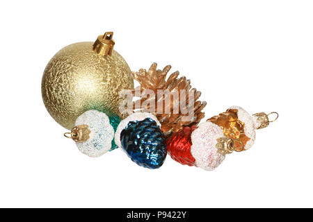 Various Christmas toys lying on white background isolated with clipping path - Stock Photo