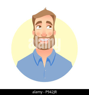 Dreaming man. Face of man with beard - Stock Photo