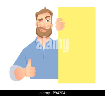 Man holding blank signboard. Businessman show thumb up - Stock Photo