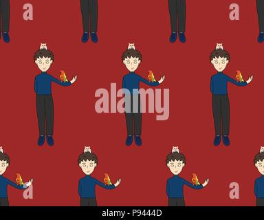 Boy with Colorful Parrot and Hamster on Red Background. Vector Illustration. - Stock Photo