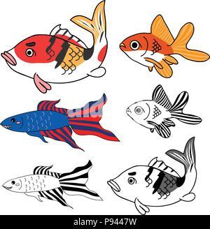 Carp, Goldfish, Siamese Fighting Fish Set. Vector Illustration. isolated on White Background. - Stock Photo