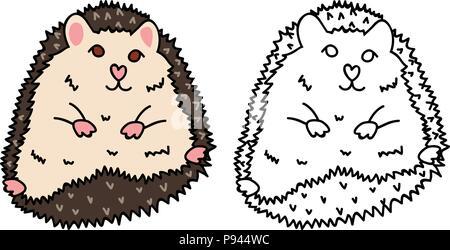 Porcupine or Hedgehog. Vector Illustration. isolated on White Background. - Stock Photo