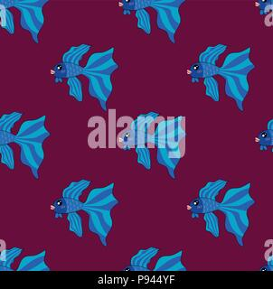 Siamese Fighting Fish on Purple Background. Vector Illustration. - Stock Photo