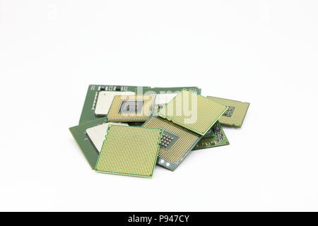 vareity of computer CPU, Processor Isolated on white background. - Stock Photo