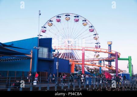 May 27, 2017. Santa Monica, california. The ferris wheel at Pacific Park on Santa Monica Pier california lit up at dusk. - Stock Photo